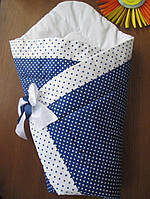 Осенний конверт-одеяло на выписку на липучке (зимний, весенний, осенний) Синий горох