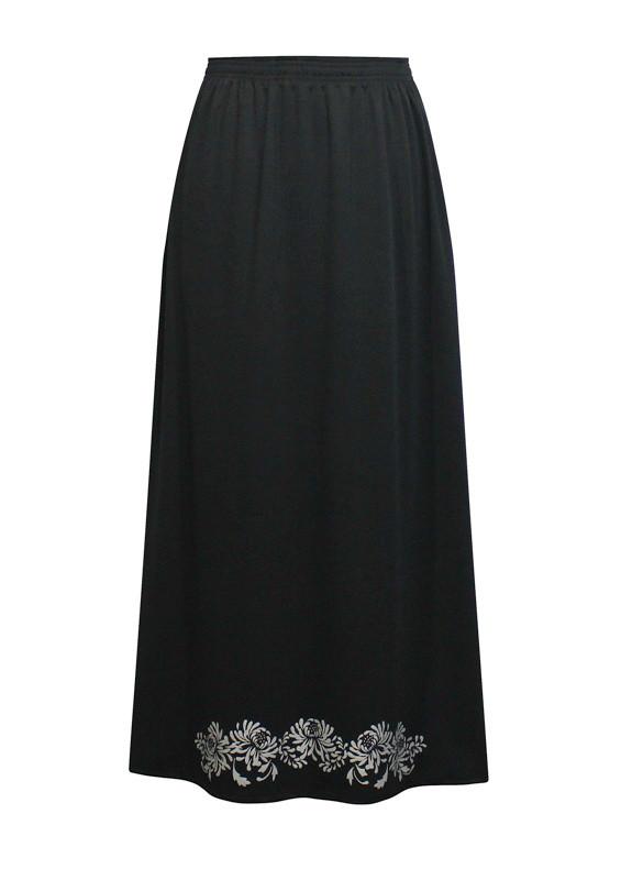 Трикотажная юбка на резинке Хризантемы