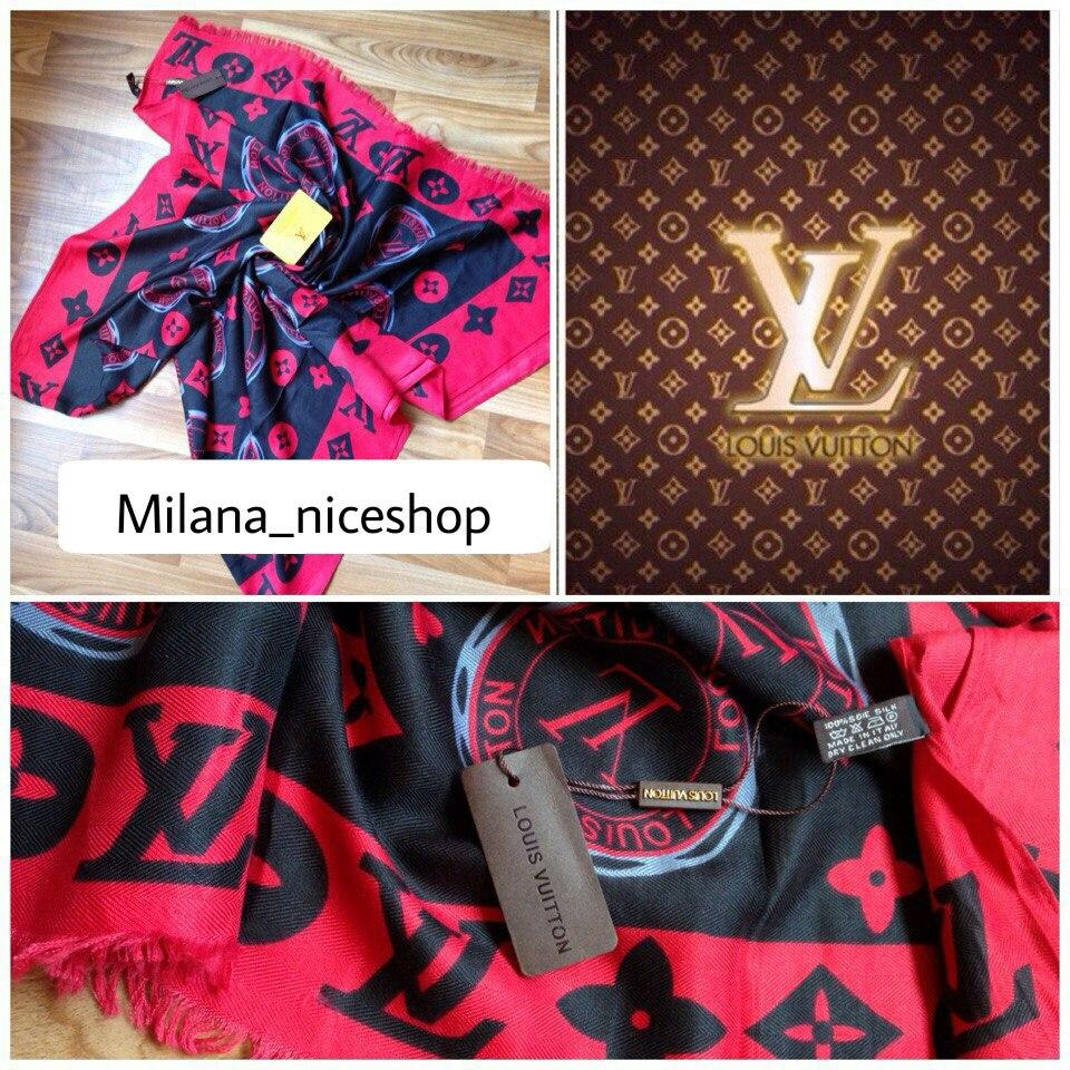 Палантин Louis Vuitton монограм красный