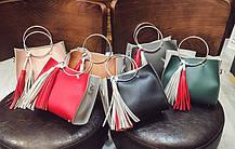 Двухцветная сумочка с ручками-кольцами , фото 2