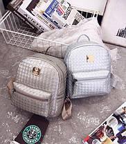 Женский городской рюкзак с заклепками и плетением, фото 2