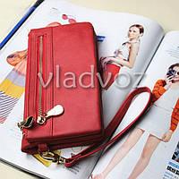 Модный женский кошелек клатч бумажник органайзер для телефона карточек денег красный