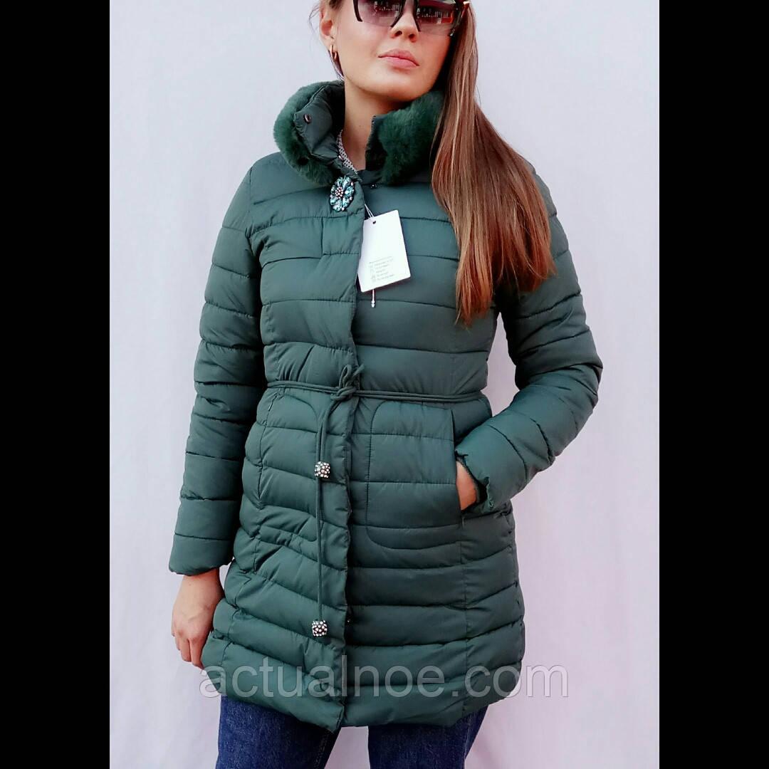 fceb55af532 Куртка женская зимняя длинная брошка с поясом  продажа