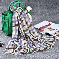 Стильный легкий женский шарф в клетку цвета