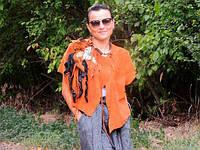 Жакет, жилет, куртка из натуральной кожи (замши) с декором (350)