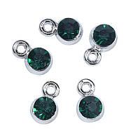 Підвіска, Срібний тон, Круглий Темно-зелений Страз, 9мм x 6мм, фото 1