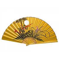 Настенный веер желтый Сакура с бамбуком и луной