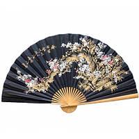 Красивый веер на стену черный Сакура