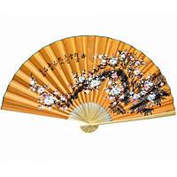 Веер настенный из шелка и бамбука желтый Сакура