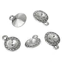 Подвеска, Античное серебро, Цинковый сплав, Прозрачный круглый страз, 15мм x 12мм