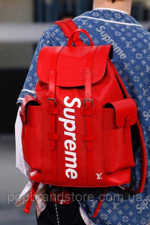 53b22573235b Яркий рюкзак Louis Vuitton Supreme натуральная кожа (реплика ...