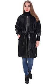 Женское пальто на молнии под пояс в больших размерах 54-60
