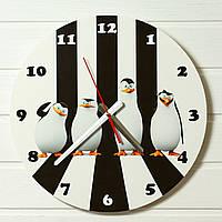 """Детские настенные часы - """"Пингвины Мадагаскар""""  (на пластике)"""
