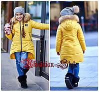 Подростковая желтая ассиметричная теплая куртка-пуховик для девочки. цвета!