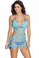Пляжное вязаное платье голубое