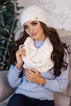 Комплект «Леруа» (шапка и снуд) 4460-8 белый, фото 2