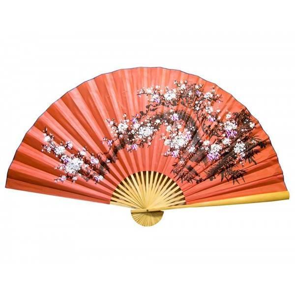 Веер на стену китайский Сакура красный