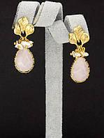 044977 Серьги 'Hand Made' Розовый кварц  украшение с натуральным камнем