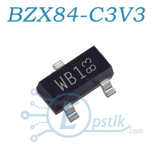 BZX84-C3V3 стабилитрон 3.3В, 0.3Вт, SMD