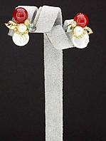 044986 Серьги 'Hand Made' Сердолик  украшение с натуральным камнем