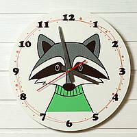 """Детские настенные часы - """"Енот"""" (на пластике)"""