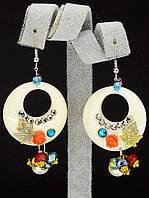 044927 Серьги 'Hand Made' Самоцветы  украшение с натуральным камнем