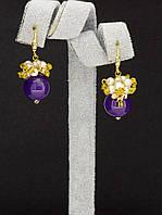 044981 Серьги 'Hand Made' Аметист  украшение с натуральным камнем