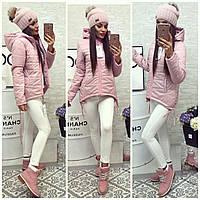 Куртка-парка женская, модель  210, пудра розовая пудра 48