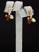 044913 Серьги 'Hand Made' Агат  украшение с натуральным камнем