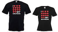 Парные футболки I love my boyfriend I love my girlfriend