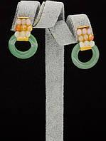 044940 Серьги 'Hand Made' Нефрит  украшение с натуральным камнем