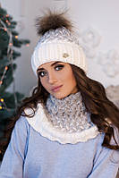 Комплект «Вилена» (шапка и шарф-хомут) 4605-7 белый+светло-серый