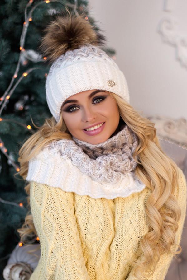 Комплект «Вилена» (шапка и шарф-хомут) 4605-7 белый +светлый кофе