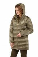 Куртка из стеганой плащевки демисезон  цвета хаки