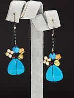 044990 Серьги 'Hand Made' Агат  украшение с натуральным камнем