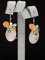 045000 Серьги 'Hand Made' Розовый кварц  украшение с натуральным камнем