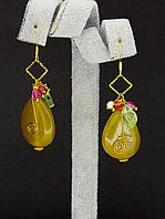 044980 Серьги 'Hand Made' Агат  украшение с натуральным камнем