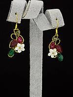044926 Серьги 'Hand Made' Агат  украшение с натуральным камнем