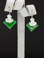 044989 Серьги 'Hand Made' Нефрит  украшение с натуральным камнем