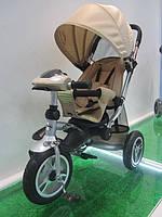 Детский трехколесный велосипед TR17003,надувные колеса,складной козырёк
