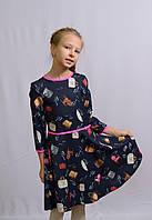 Платье для девочек 128-146 роста Фламинго