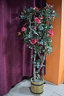 Цветок Роза в Деревянном Горшке