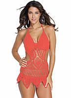 Пляжное вязаное платье коралловое