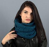 Вязаный шарф-хомут Капелла изумруд