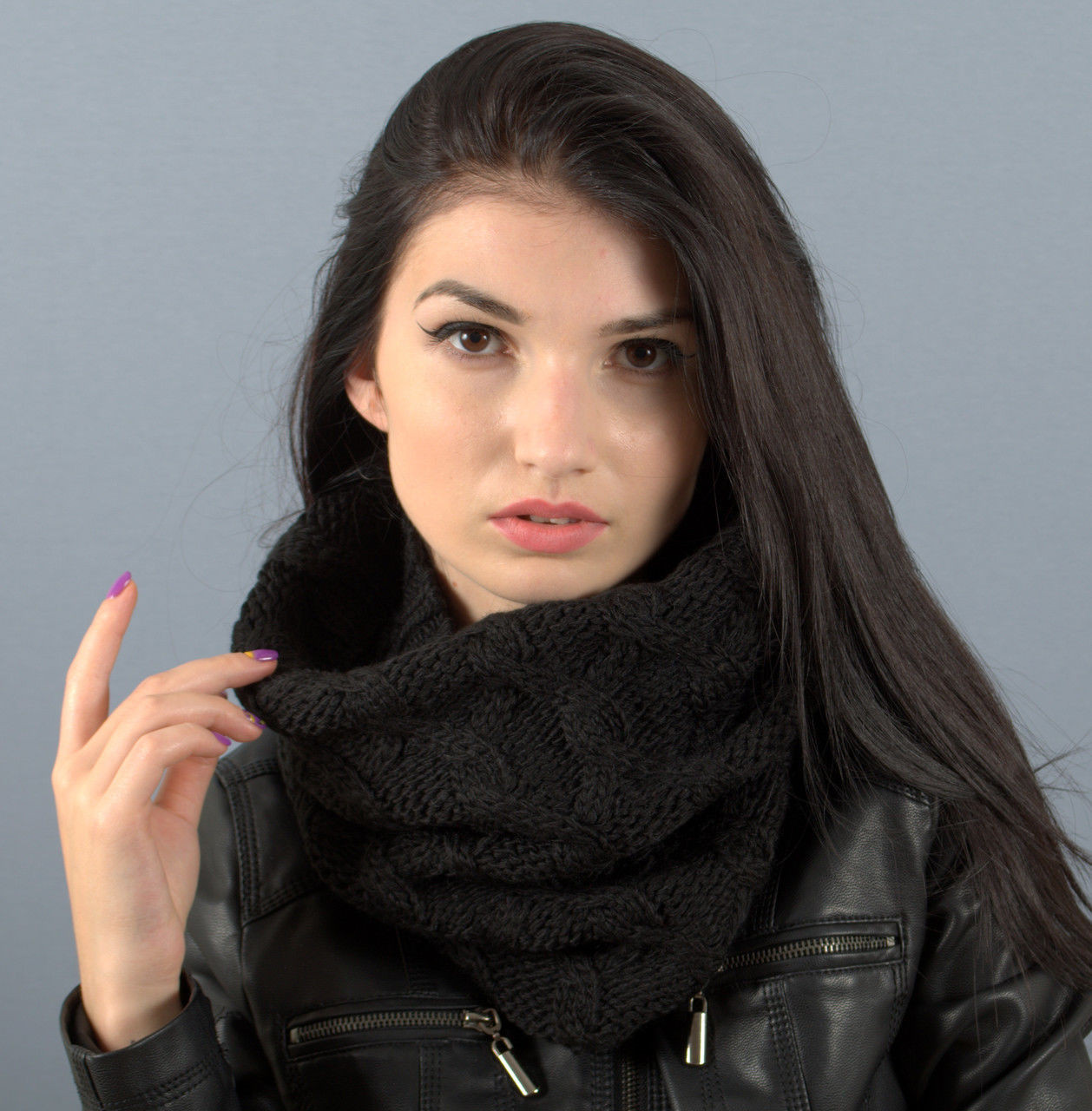 Вязаный шарф-хомут Капелла