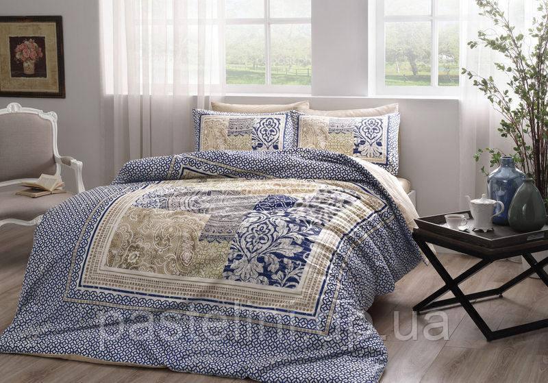 TAC Евро комплект постельного белья сатин Angelo lacivert