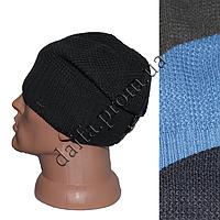 Мужская вязаная шапка на  флисе W23 оптом в Одессе.