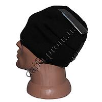 Мужская вязаная шапка на  флисе W24 оптом в Одессе.