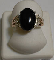 Кольцо женское из серебра 925 пробы, золота 375 пробы с черным ониксом Ночь