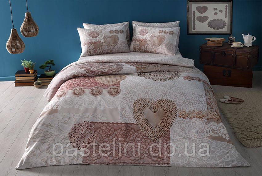 TAC Евро комплект постельного белья сатин Shelby dark rose